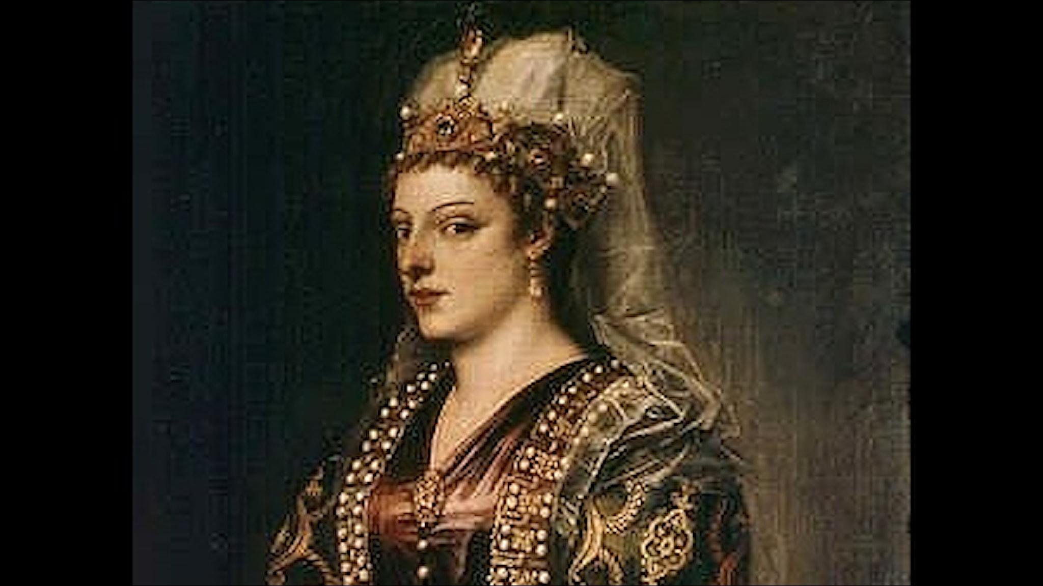 Porträtt av Caterina Cornaro (Titian, 1542).