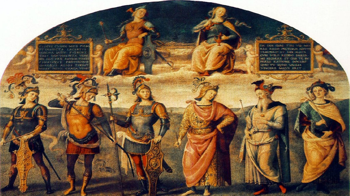 Mod och måttlighet med sex antik hjältar. Pietro Perugino, 1497.