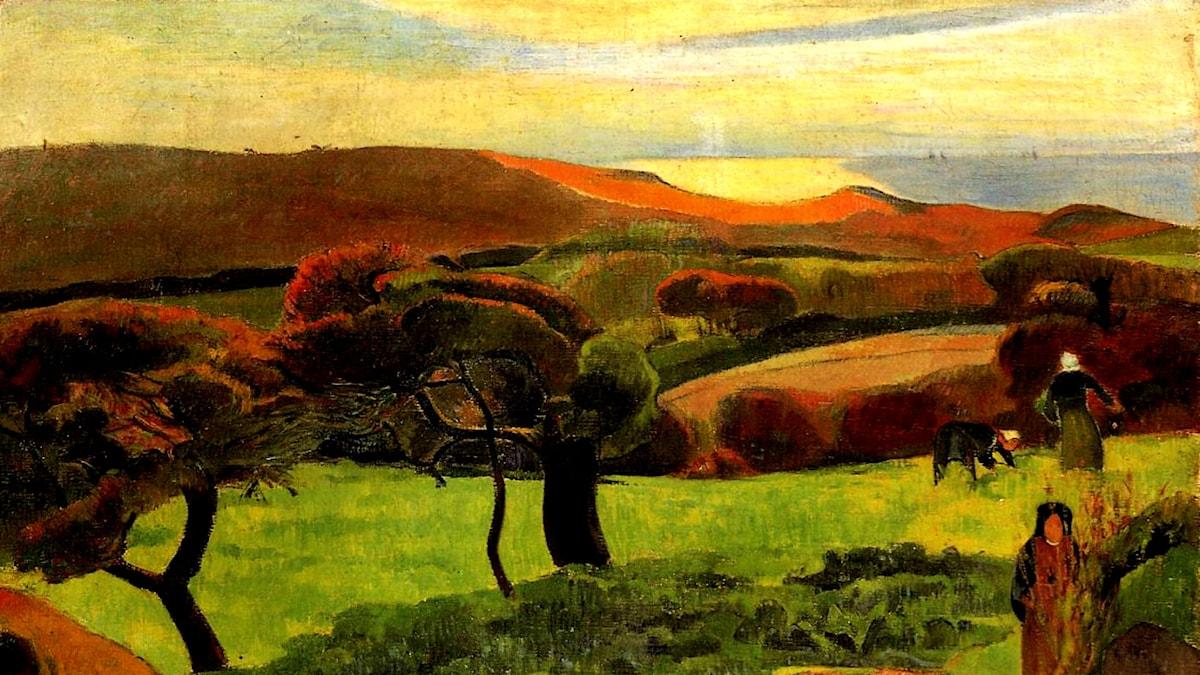 Breton Landscape - Fields by the Sea (Le Pouldu). Paul Gauguin, 1889.
