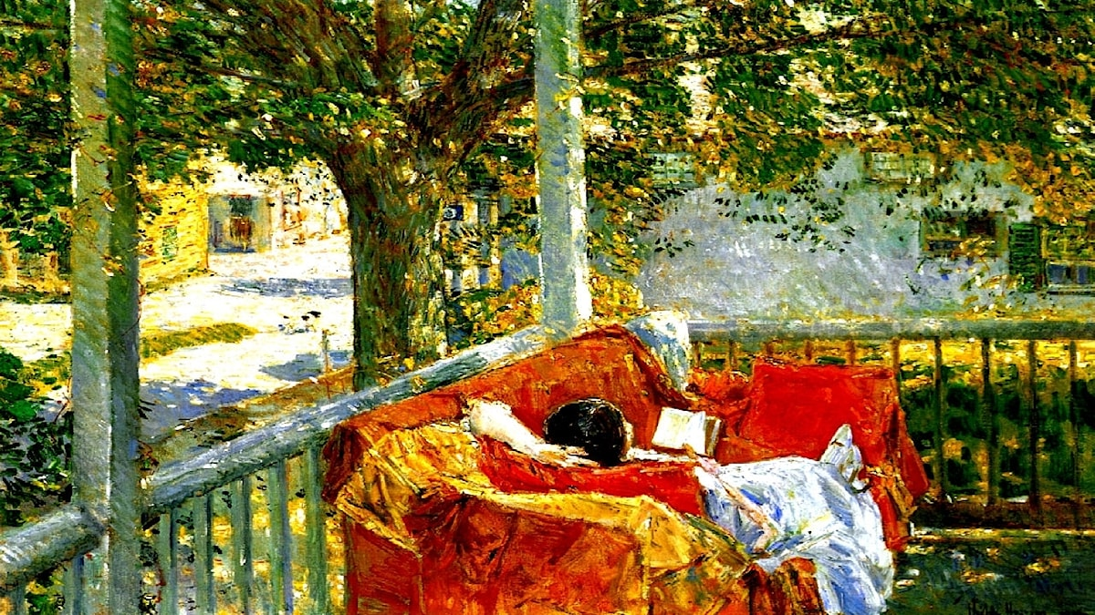 Couch on the Porch, Cos Cob. Childe Hassam, 1914.