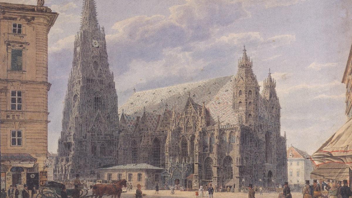 The St. Stephen's Cathedral in Vienna. Rudolf von Alt (1831)