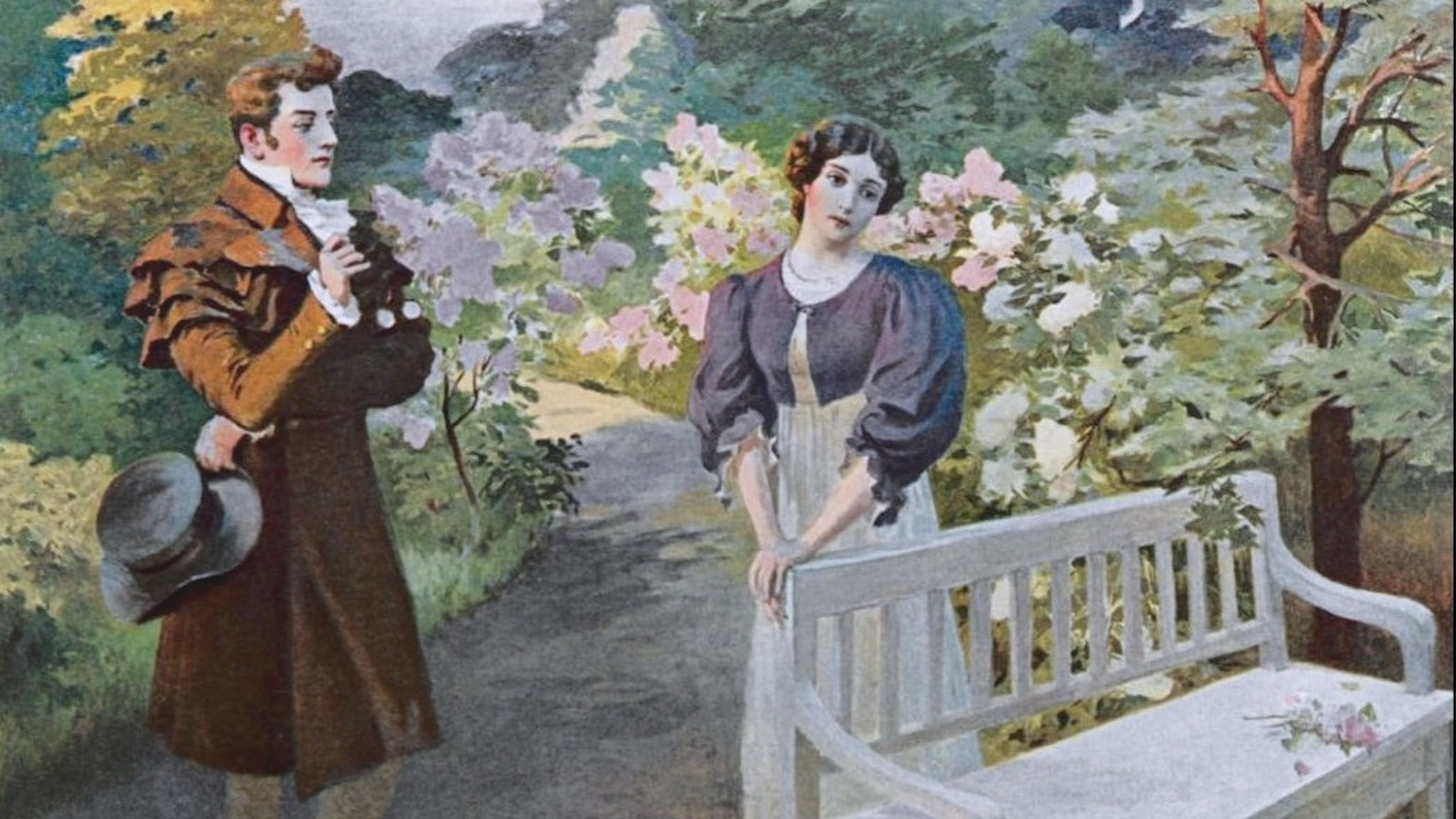 Onegin och Tatjana (Elena Petrovna Samokysh-Sudkovskaya.1908) Wikimedia Commons