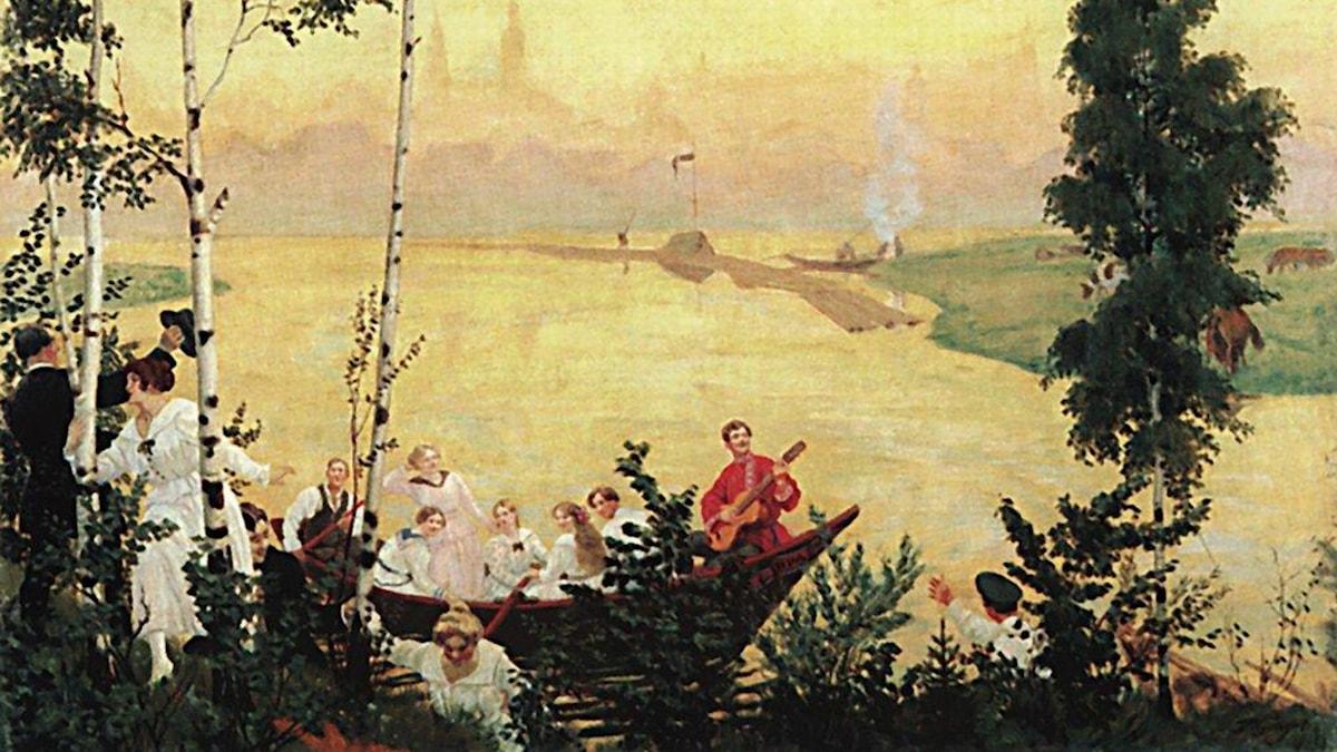 En tur på landet. Boris Kustodiev, 1918.