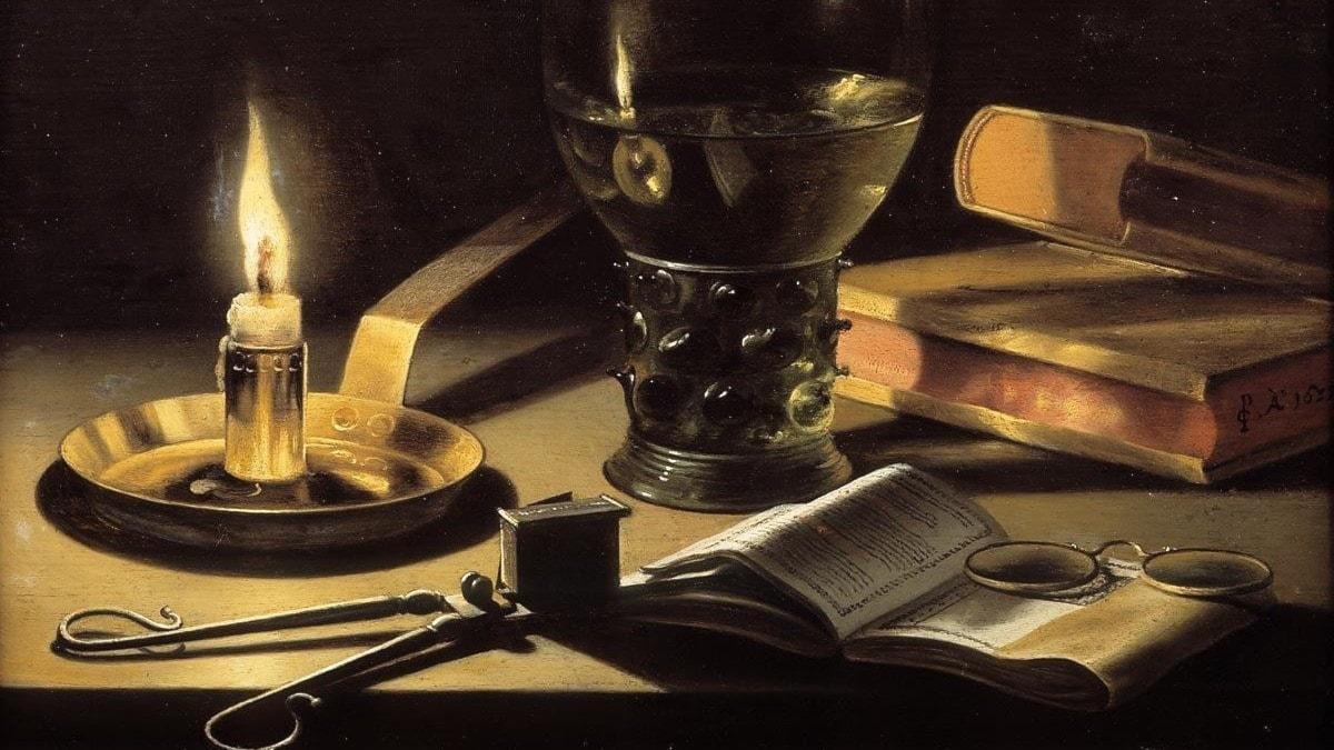 Stilleben med ett levande ljus. Pieter Claesz 1627.