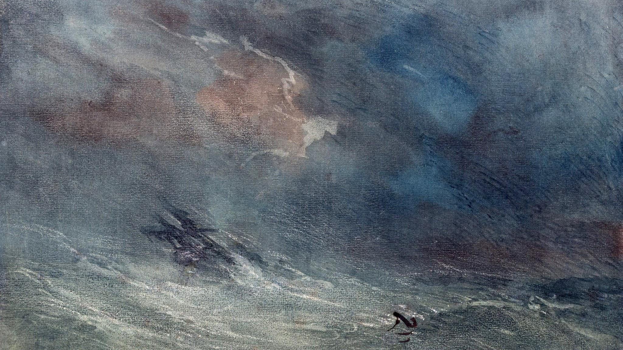T. C. Hart. Storm till havs. 1800-talet.