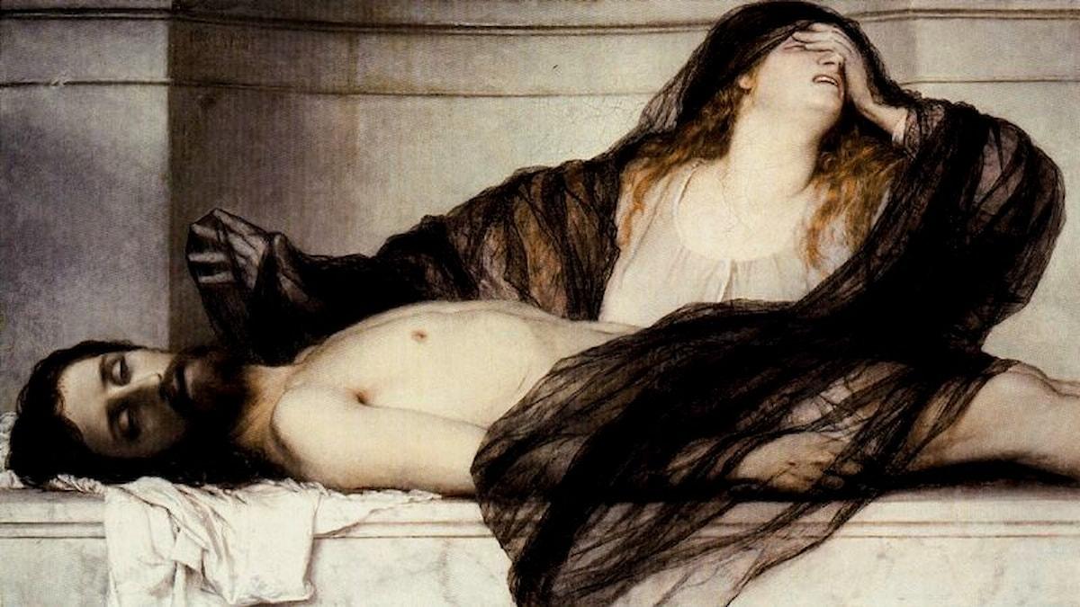 Maria Magdalenas klagan vid Kristus kropp. Arnold Böcklin- 1868