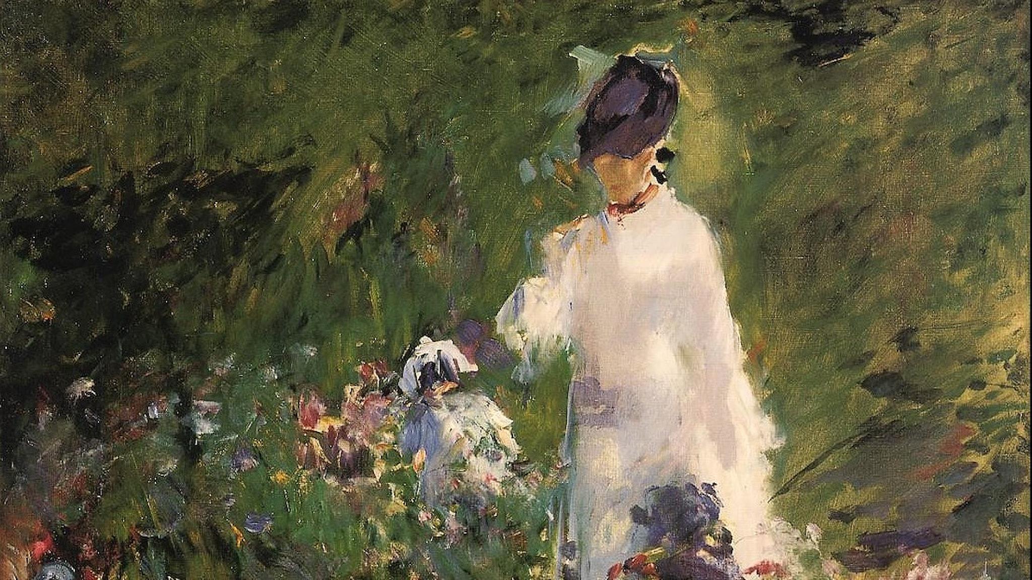 Ung kvinna bland blommor. Edouard Manet-1879