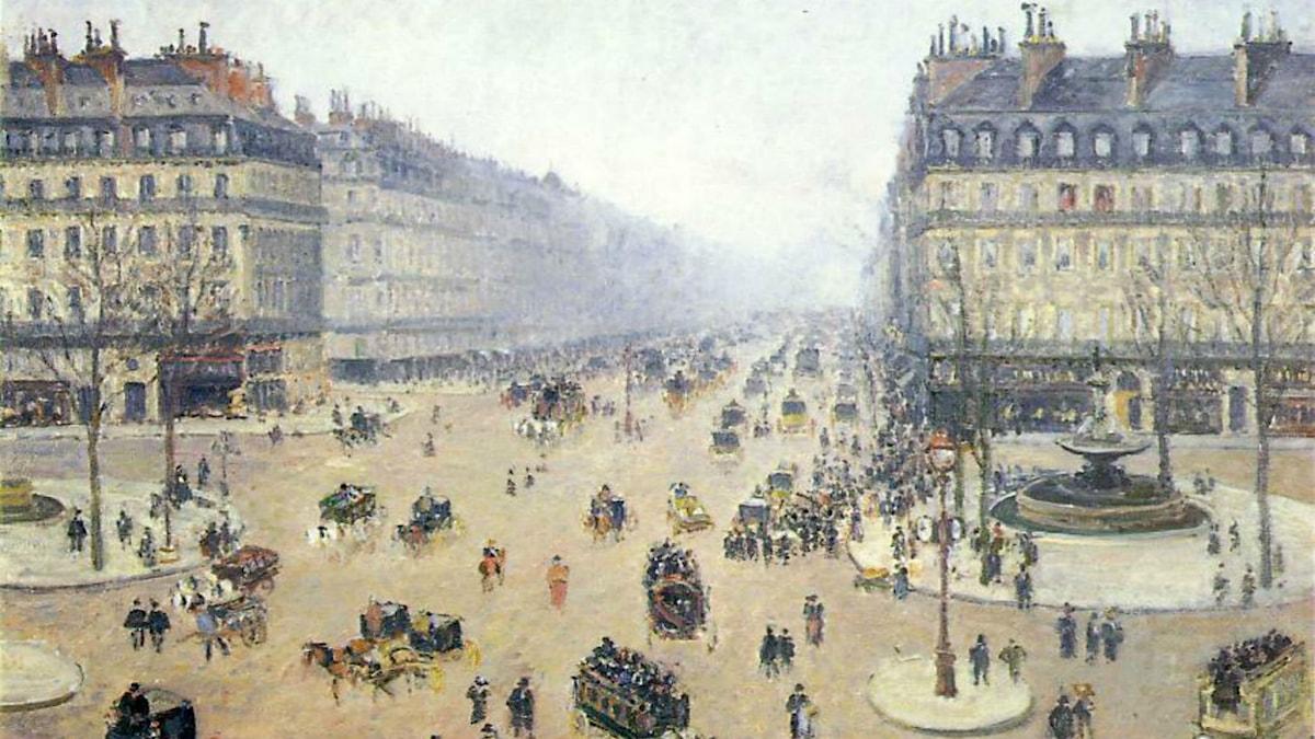 Avenue de l'Opera, Place du Theatre Francais. Misty. Camille Pissarro