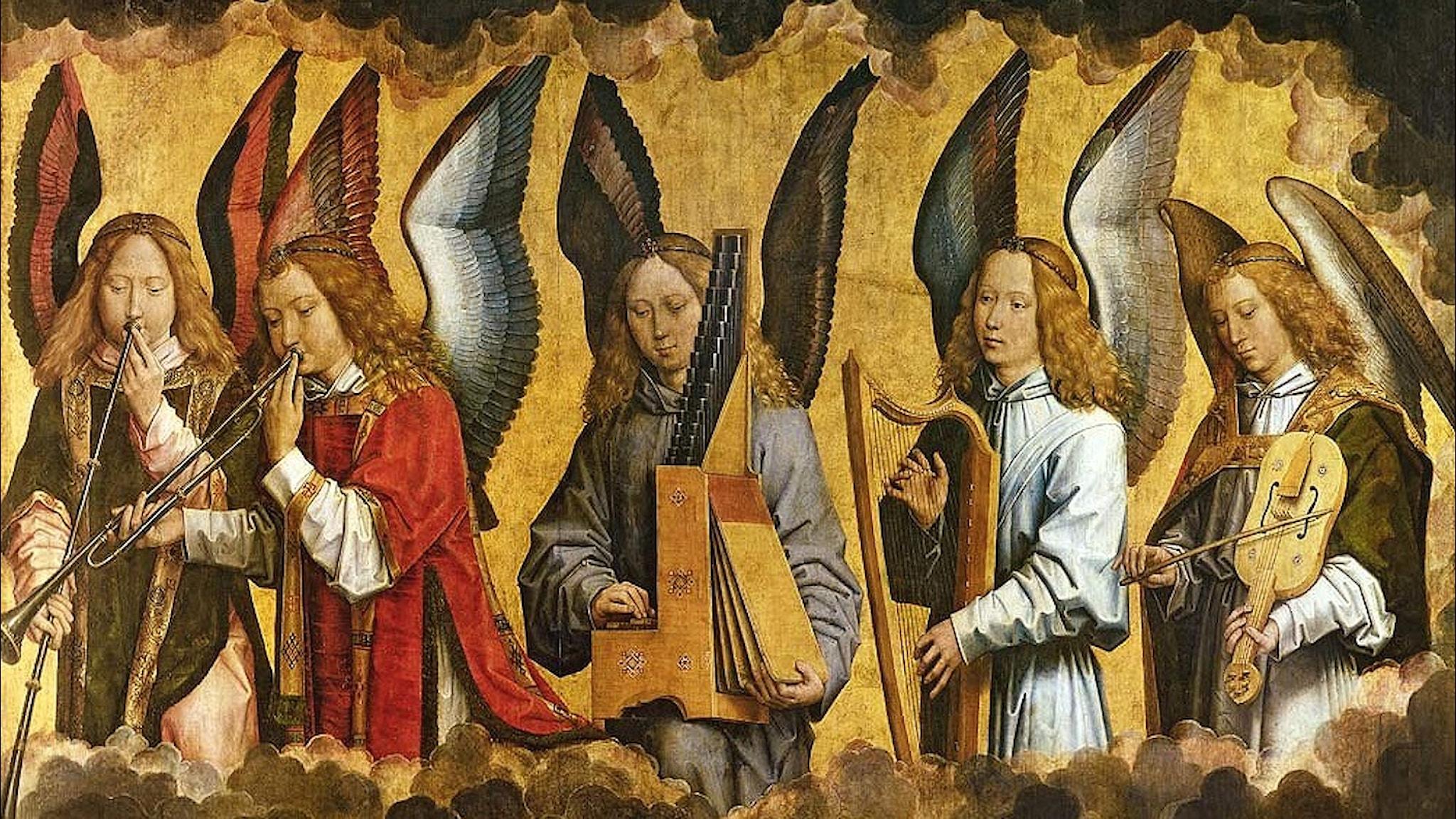 Änglar spelar instrument (Hans Memling, 1487-1490).