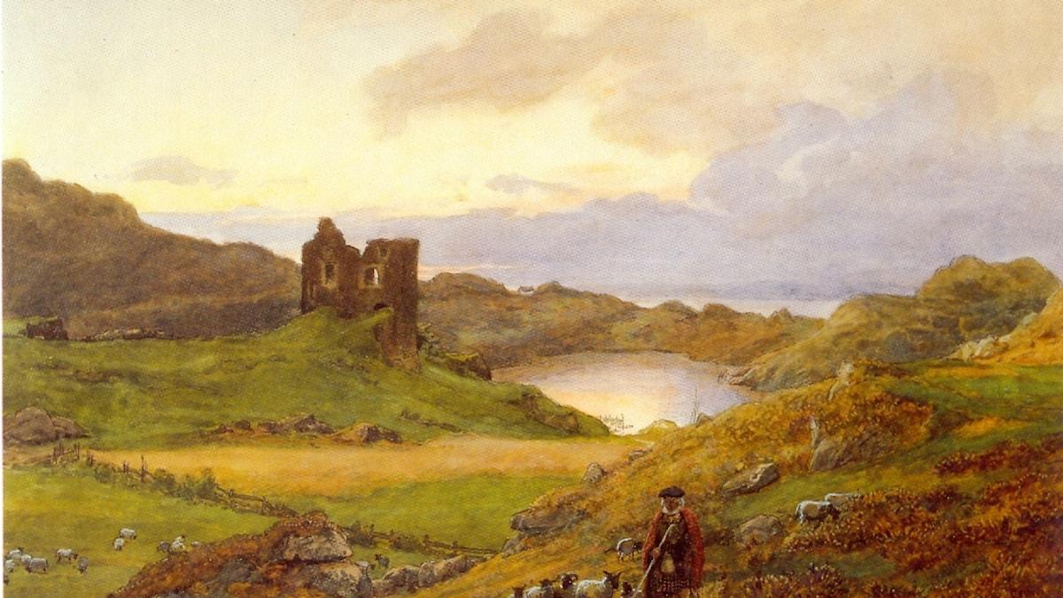 Landskap vid Tabert Castle i Skottland -1877