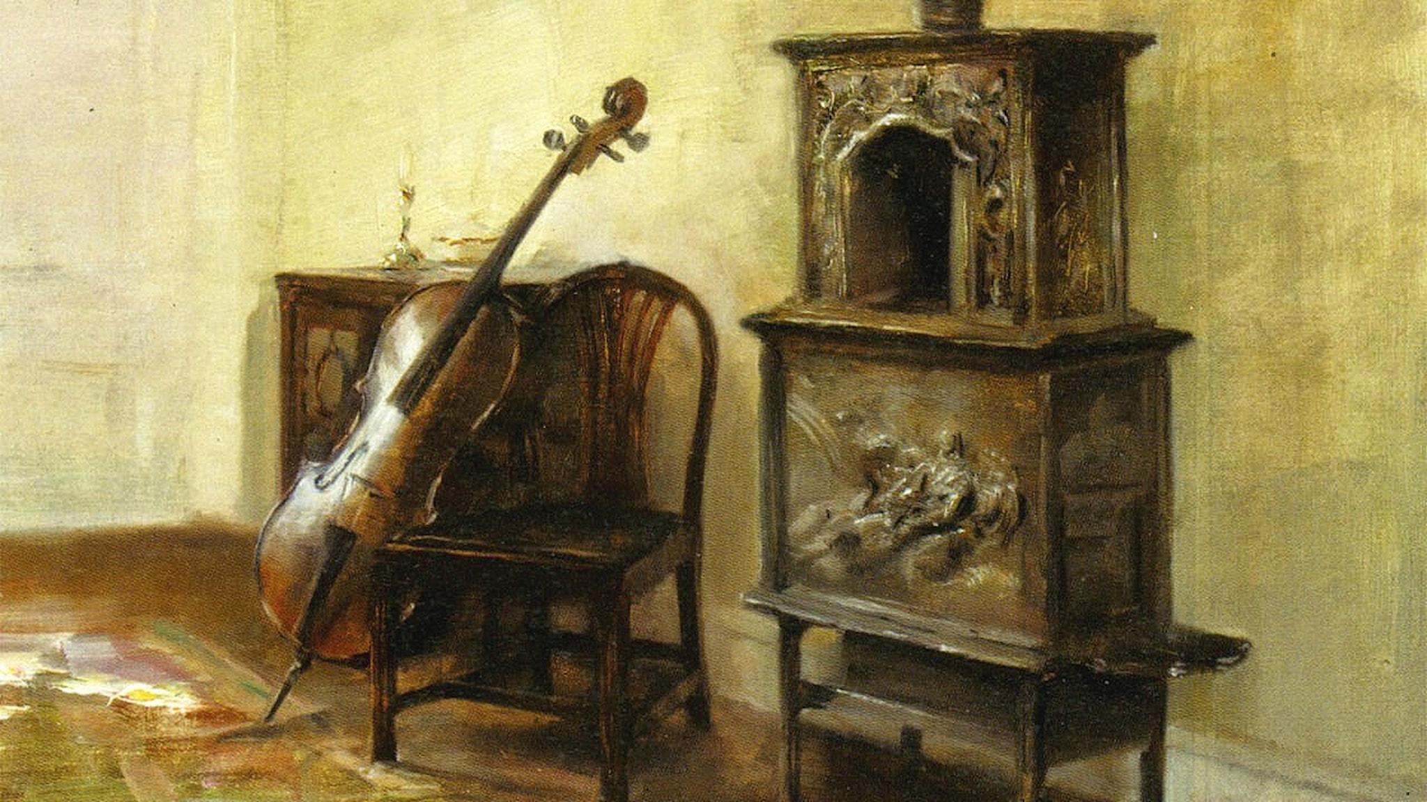 Interiör med en cello. Carl Holsøe.