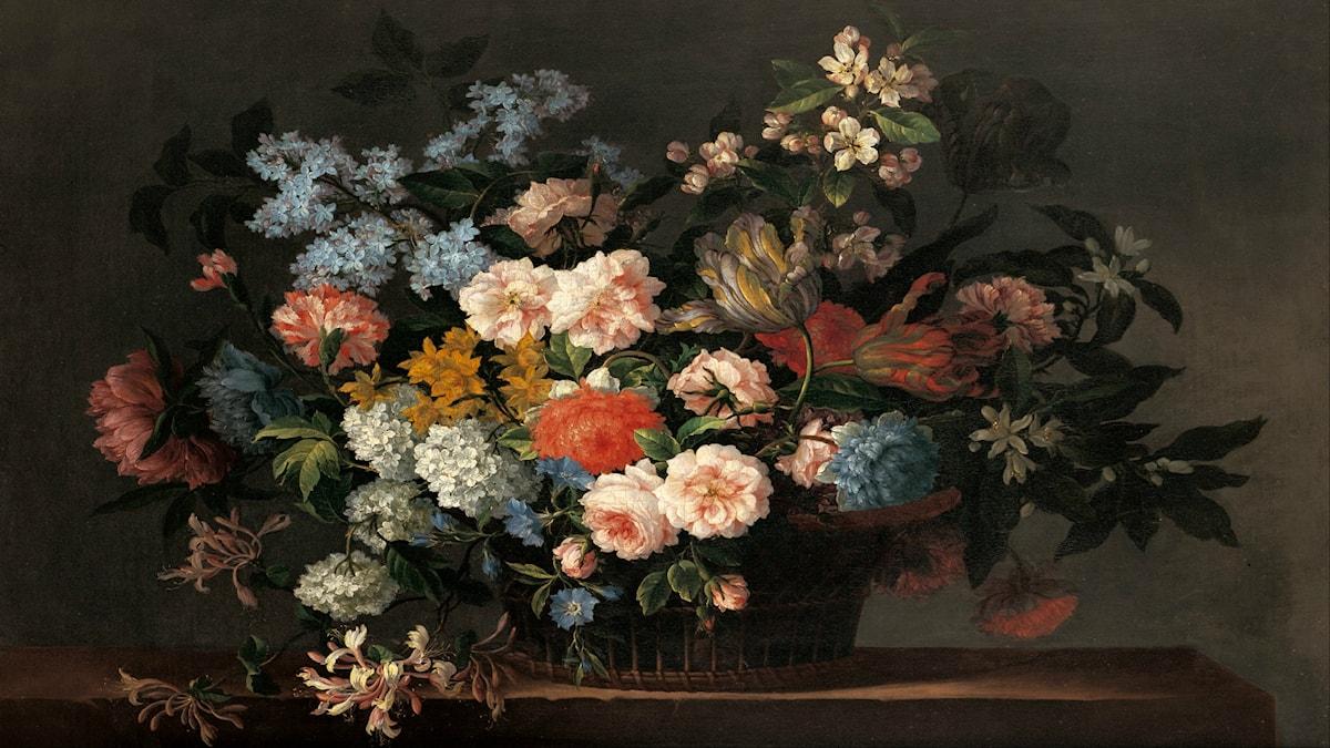 'Stilleben med blomsterkorg'. Jean-Baptiste Monnoyer (ca 1690).