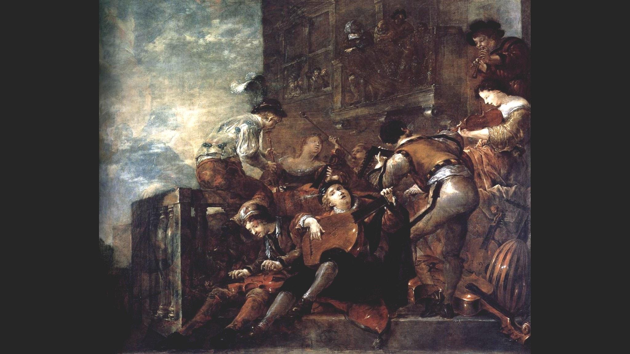 Musiker på en terrass (Leonaert Bramer 1665 - 1670).