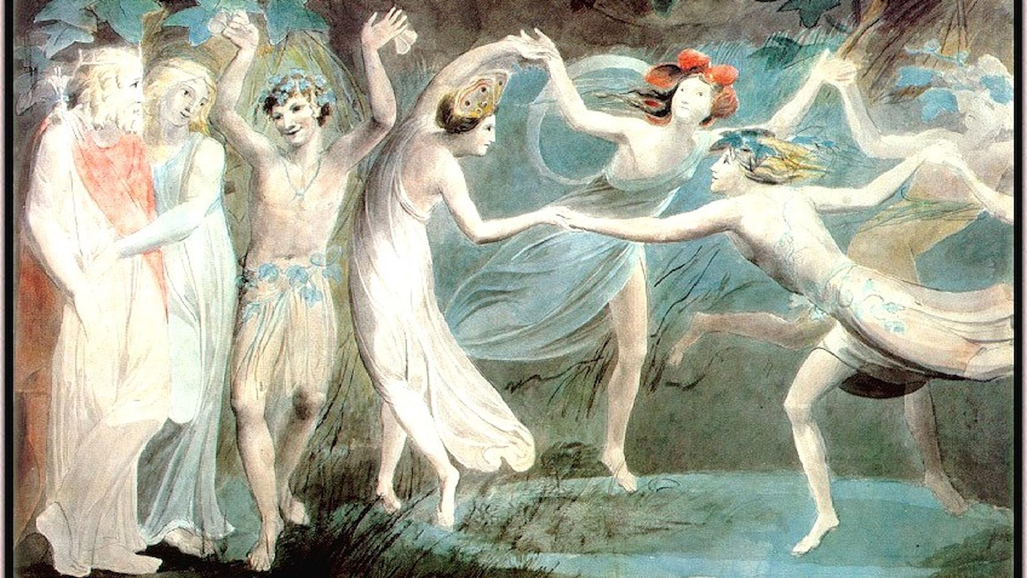 Oberon, Titania och Puck dansar med älvor (William Blake, 1786).