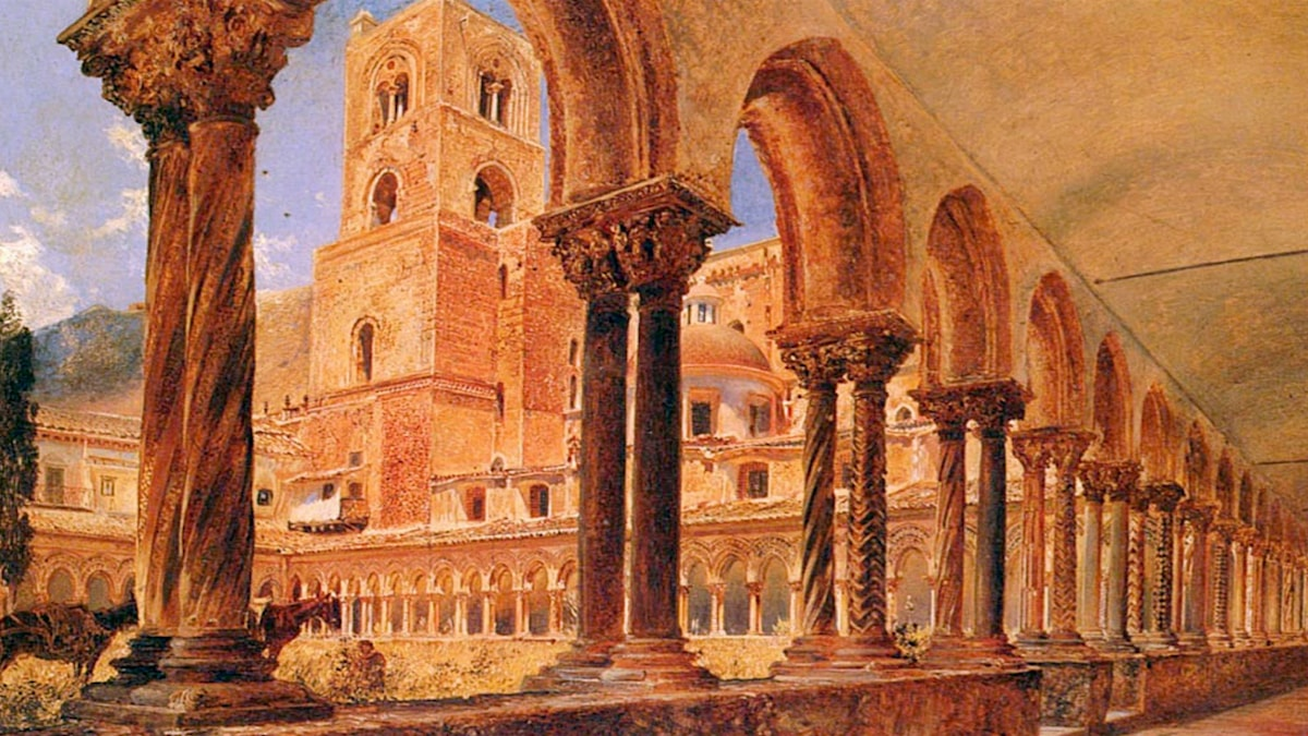 A View Of Monreale, Above Palermo. Rudolf von Alt.