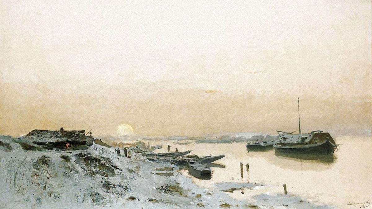 Sunrise in the Snowy Riverside. Laszlo Mednyanszky