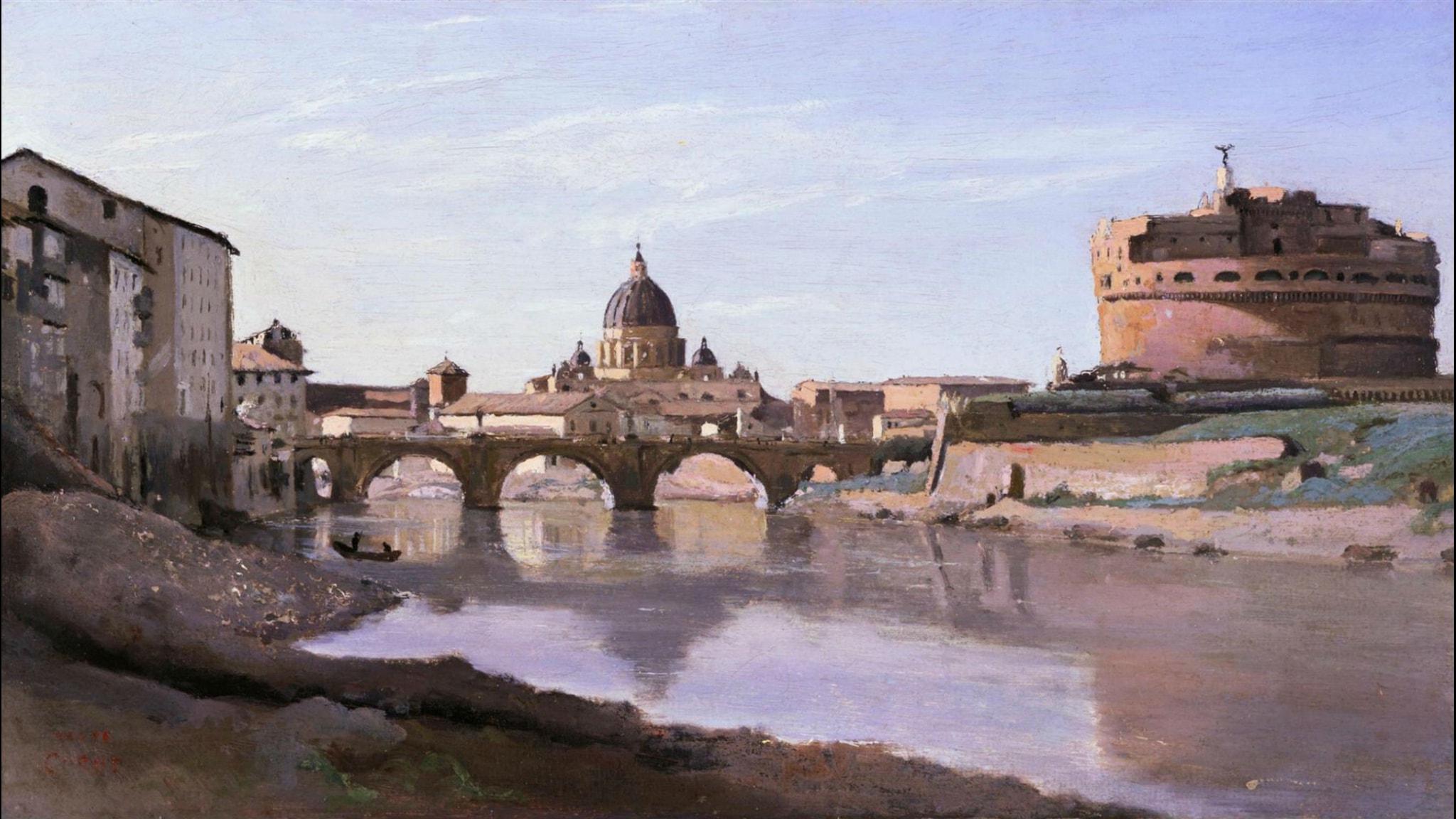 Rome, Castle Sant Angelo. Camille Corot (1826-1827)