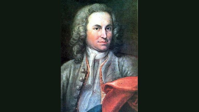Porträtt av en ung J S Bach.
