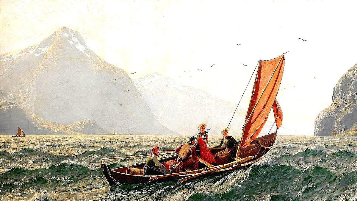 Fjord med segelbåt. Hans Dahl (1849–1937).
