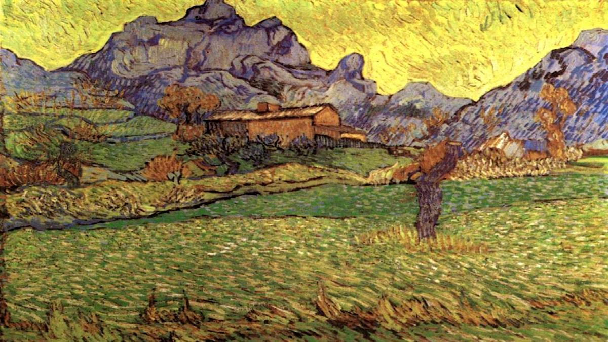 En äng bland bergen. Vincent van Gogh, 1889.