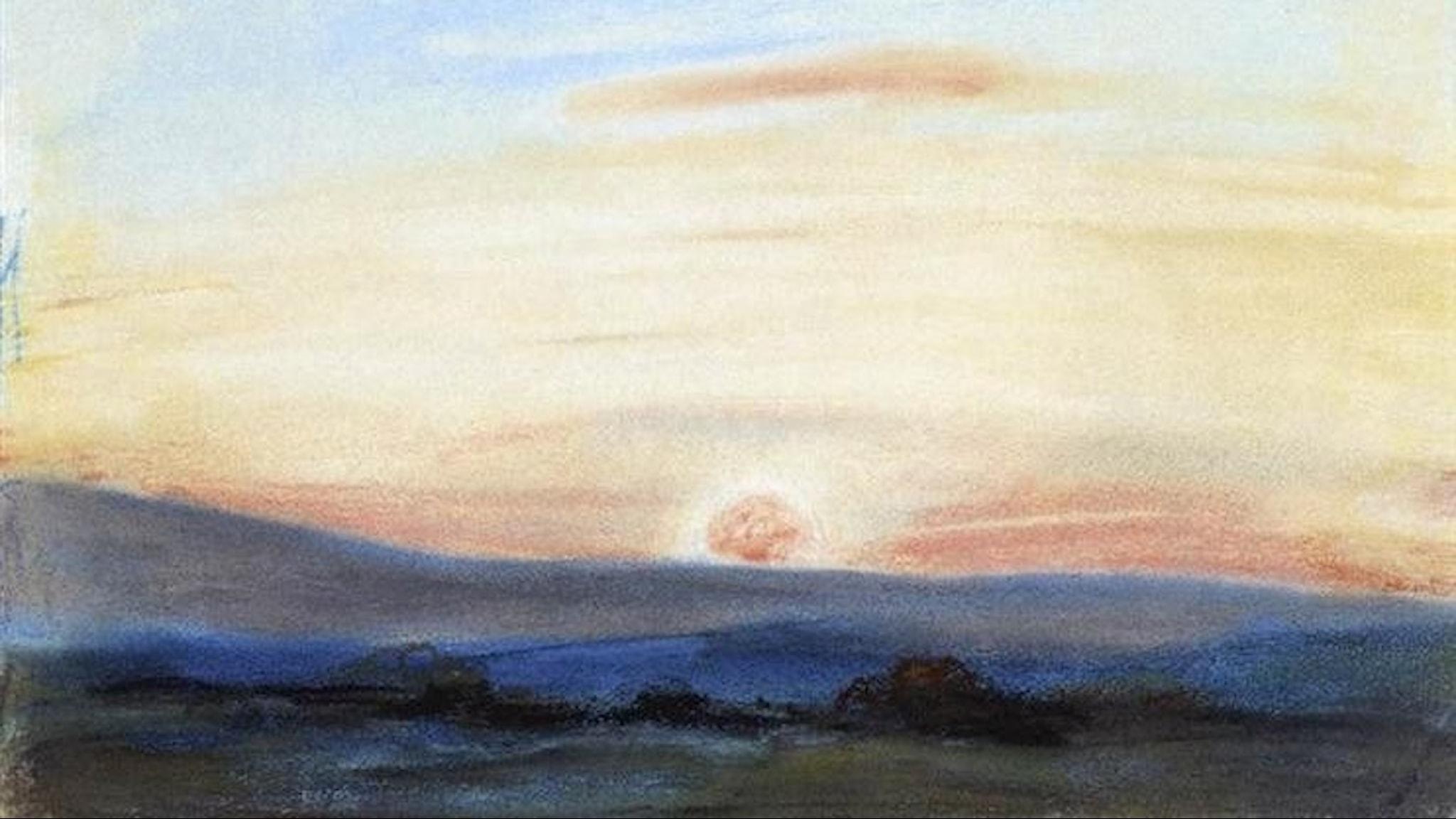 Study of the sky setting. Eugene Delacroix - 1849