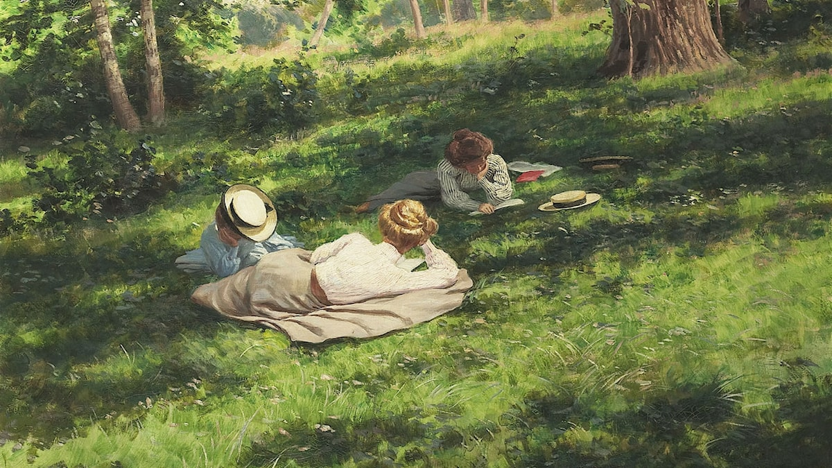 Tre läsande kvinnor. Johan Krouthén (1908)