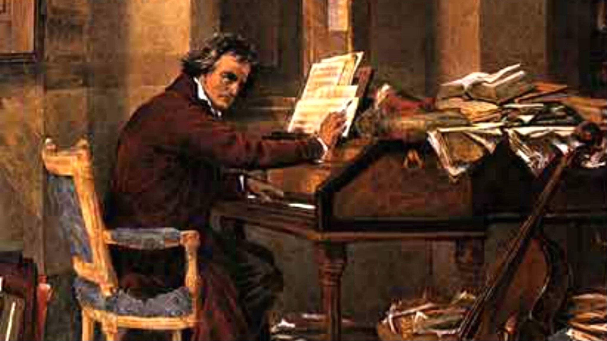 Beethoven i sitt hem, 1811. Carl Schloesser.