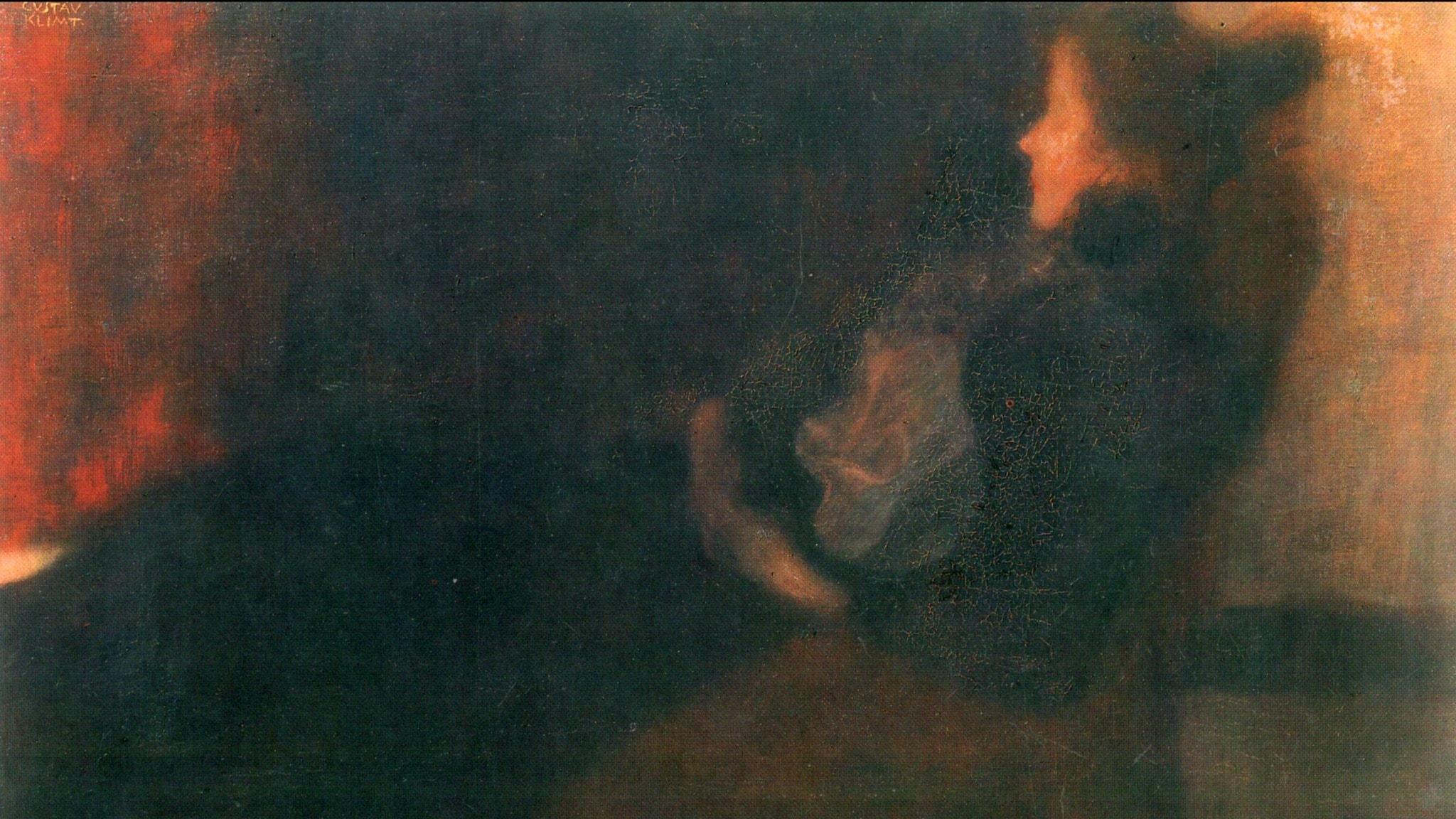 Kvinna vid brasan (Gustav Klimt 1898).