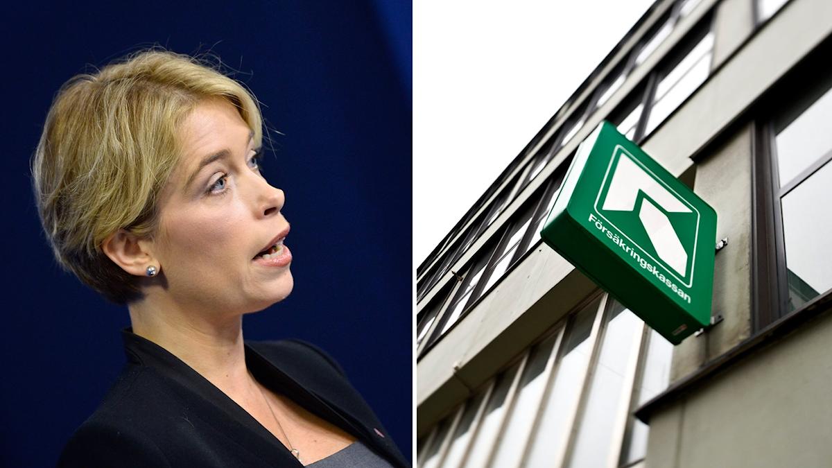 Socialförsäkringsminister Annika Strandhäll (S), och en skylt utanför Försäkringskassan.