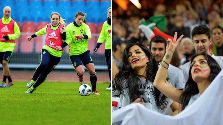 Första gången någonsin som det iranska damlandslaget i fotboll spelar en landskamp i Europa.