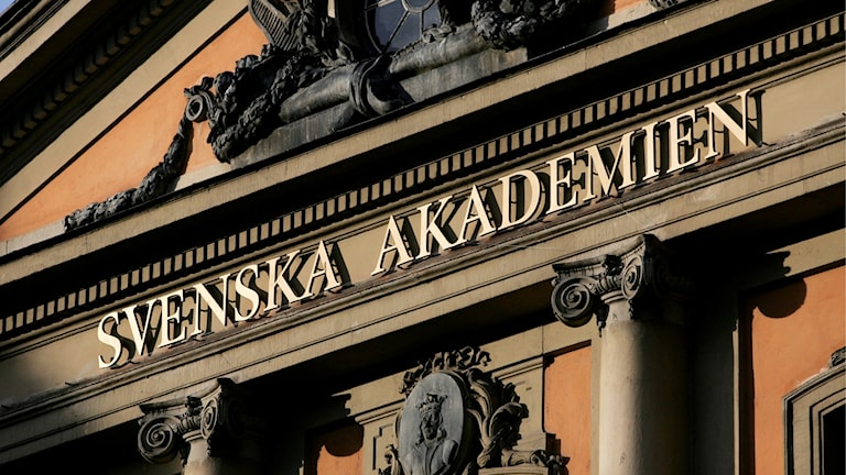 A building with the words The Swedish Academy in Swedish on a sign.