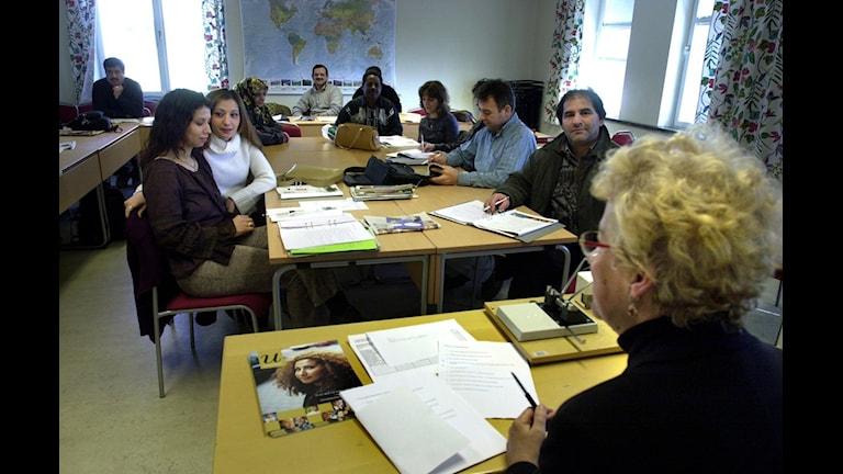 یک کلاس آموزش زبان سوئدی به مهاجران  Foto: Claus Gertsen/TT