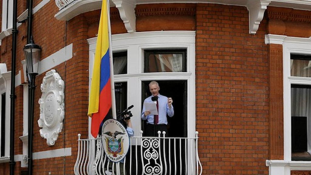 ژولین اسانژ در سفارت اکووادور در لندن  Foto: TT /Kirsty Wigglesworth