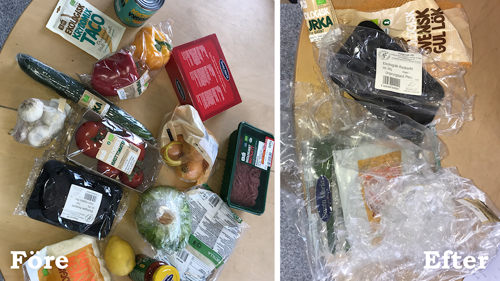 Maten i plastförpackning och bara plasten.