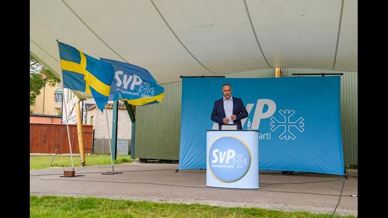 رهبر حزب سوئدی ها در المدالن  Foto: janerik Eriksson/ TT