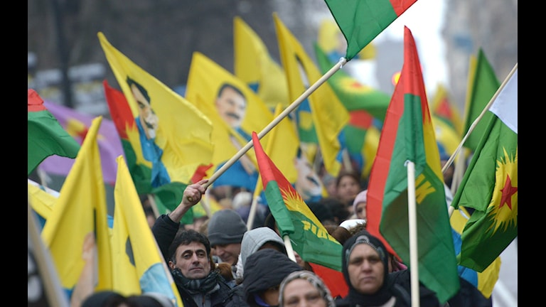 Supporters of the PKK marching in Stockholm last year. Photo: Johan Nilsson/TT.