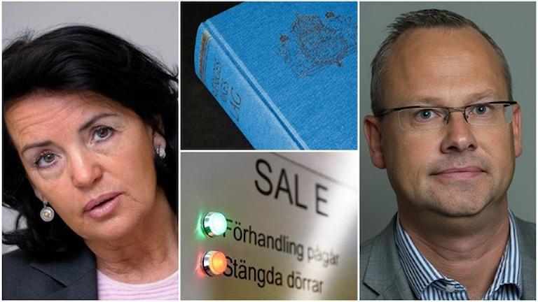 ان رامبری از کانون وکلا و پاتریک یونسوُن از حزب دموکرات های سوئد . Foto: Jonas Ekströmer/TT