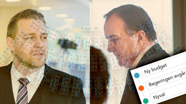 استفن لوون، رهبر حزب سوسیال دموکرات و ماتیاس کارلسون، جانشین رهبر حزب دموکرات های سوئد Foto: TT, montagr:SR