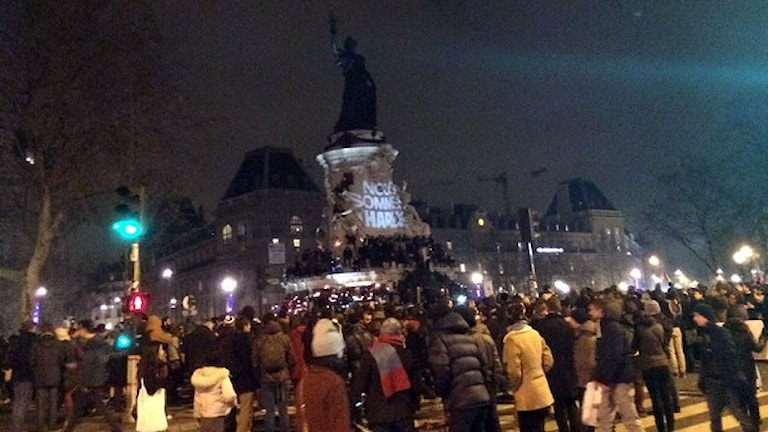 Demonstration in Paris after the killings, Photo: Beatrice Janzon/Sveriges Radio