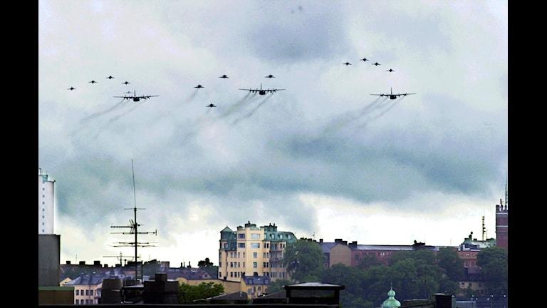 یکی از رزمایش های نیروی هوایی سوئد Foto: Lars Pehrson /TT