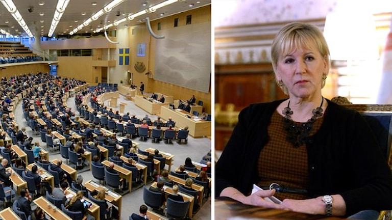 مارگوت والستروم، وزیرامورخارجه، سیاست خارجی کشور را در پارلمان معرفی کرد