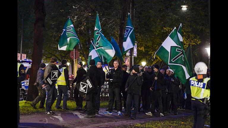 یکی از تظاهرات پیشین گروه نازیستی جنبش مقاومت سوئد در استکهلم  Foto: Jessica Gow / TT