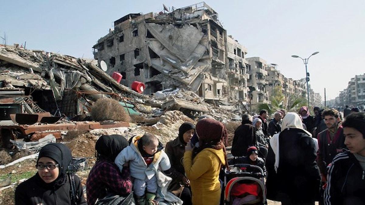 یکی از محله های جنوب دمشق . Foto: AP