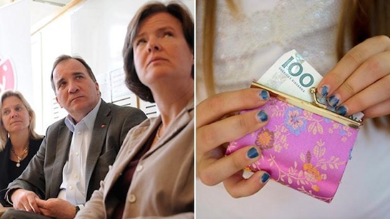 از راست: کارین یِمتین، دبیرسیاسی حزب سوسیال دموکرات، استفان لوون، نخست وزیر و ماگدالنا اندرشوُن، وزیر دارایی. Foto: Erik Mårtensson, Henrik Montgomery/TT