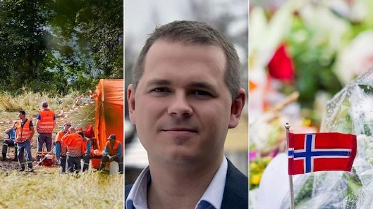 Peder Hyllengren پژوهشگر تروریسم و اوتویا در نروژ به عنوان بزرگ ترین عملیات ترو.ریستی انفرادی در اروپا   Foto: Försvarshögskolan och TT. Montage: Sveriges Radio