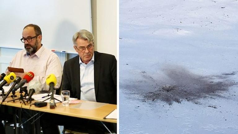 مدیر شرکت وست اتلانتیک در یک کنفرانس خبری از سقوط هواپیمای پستی اظهار تاسف کرد  Foto: Björn Larsson Rosvall/TT och Marja Påve/ Sameradion & SVT Sápmi