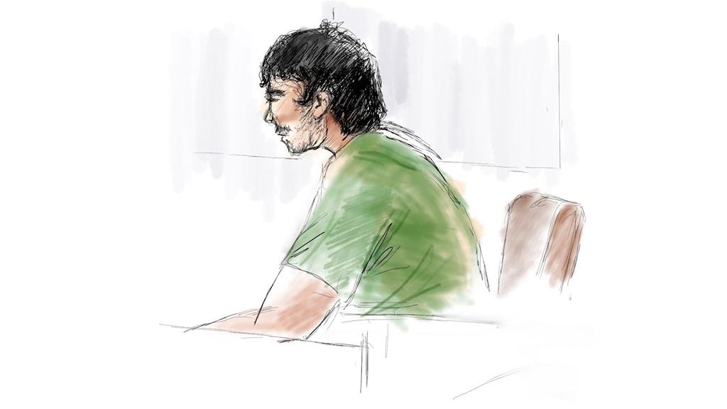En tecknad bild av en ung man i en rättegång