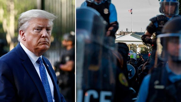 Donald trump och till höger kravallpolis framför vita huset