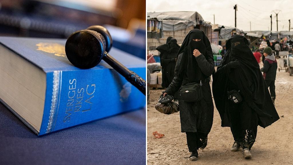tvådelad bild på lagbok och is-kvinnor i läger.