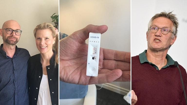 Från vänster: en man och en kvinna tittar in i kameran, en hand håller upp ett antikroppstest, Anders Tegnell.